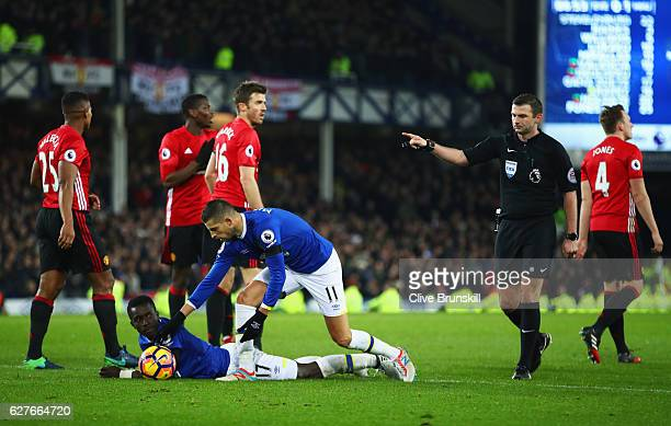 Referee Michael Oliver awards a penalty after a foul on Idrissa Gueye of Everton during the Premier League match between Everton and Manchester...
