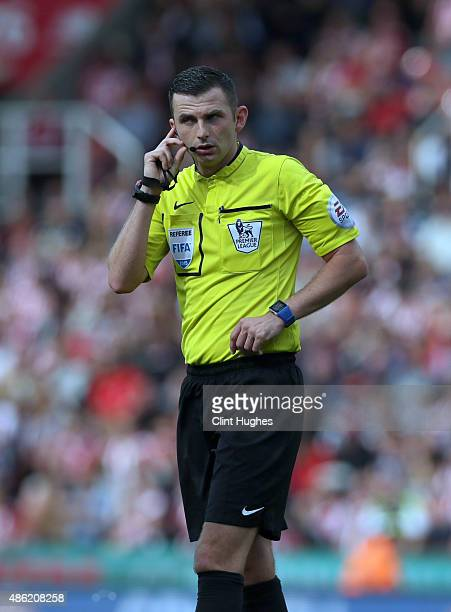 Referee Michael Oliver during the Barclays Premier League match between Stoke City and West Bromwich Albion at Britannia Stadium on August 29 2015 in...
