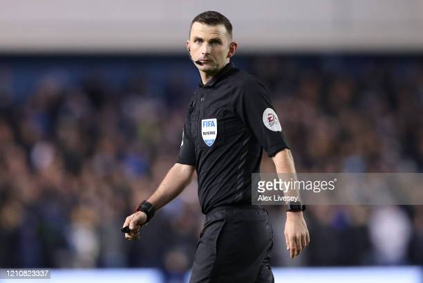 Referee Michael Oliver during the FA Cup Fifth Round match between Sheffield Wednesday and Manchester City at Hillsborough on March 04, 2020 in...