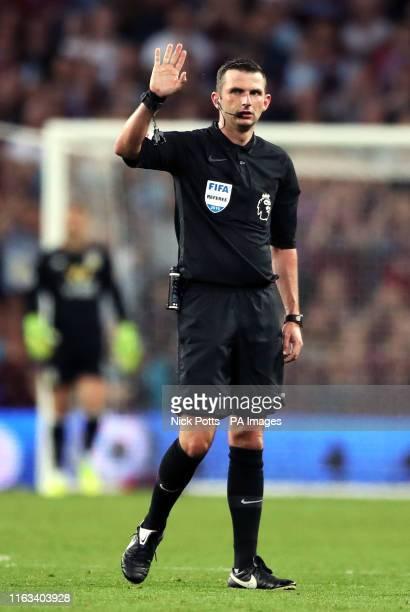 Referee Michael Oliver during the Premier League match at Villa Park, Birmingham.