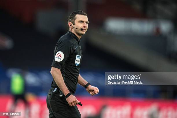 Referee Michael Oliver during the Premier League match between Crystal Palace and Burnley at Selhurst Park on February 13, 2021 in London, United...