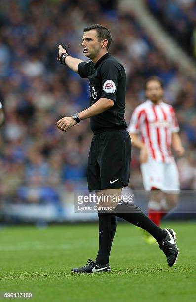 Referee Michael Oliver during the Premier League match between Everton and Stoke City at Goodison Park on August 27 2016 in Liverpool England
