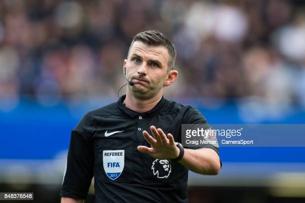Referee Michael Oliver during the Premier League match between Chelsea and Arsenal at Stamford Bridge on September 17 2017 in London England