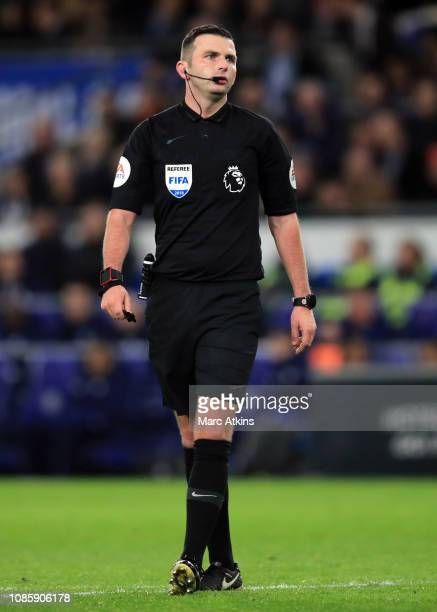 Referee Michael Oliver during the Premier League match between Cardiff City and Manchester United at Cardiff City Stadium on December 22 2018 in...