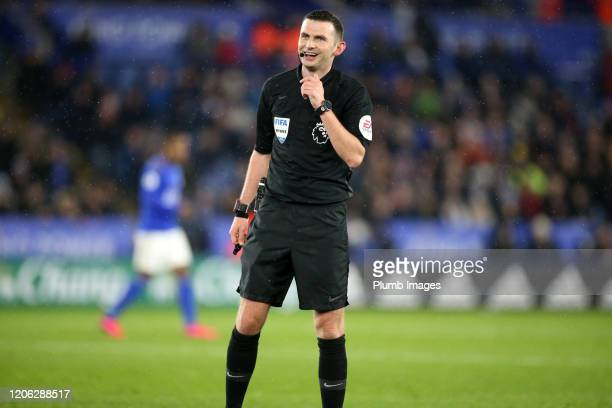 Referee Michael Oliver during the Premier League match between Leicester City and Aston Villa at The King Power Stadium on March 09th, 2020 in...