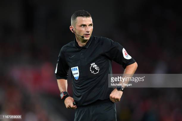 Referee Michael Oliver during the Premier League match between Liverpool FC and Norwich City at Anfield on August 09 2019 in Liverpool United Kingdom