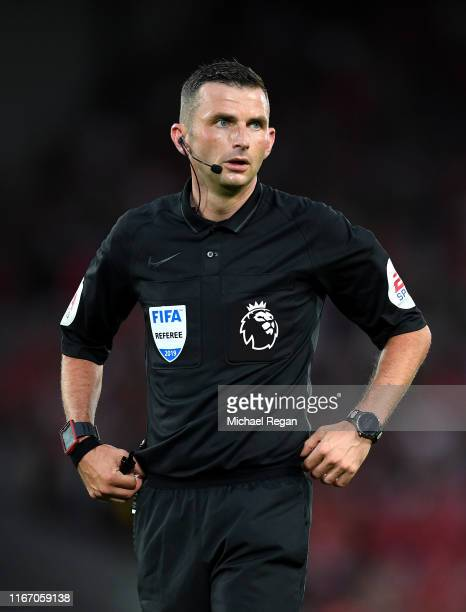 Referee, Michael Oliver during the Premier League match between Liverpool FC and Norwich City at Anfield on August 09, 2019 in Liverpool, United...