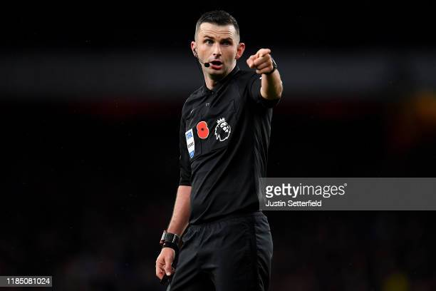 Referee, Michael Oliver during the Premier League match between Arsenal FC and Wolverhampton Wanderers at Emirates Stadium on November 02, 2019 in...