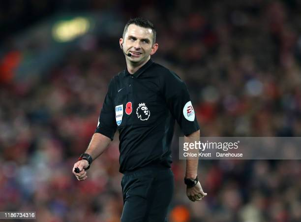 Referee Michael Oliver during the Premier League match between Liverpool FC and Manchester City at Anfield on November 10, 2019 in Liverpool, United...