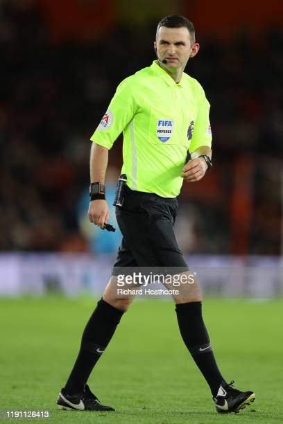 Referee Michael Oliver during the Premier League match between Southampton FC and Watford FC at St Mary's Stadium on November 30, 2019 in...