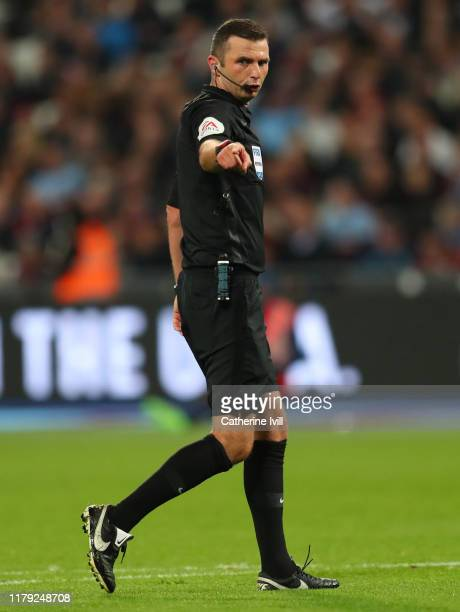 Referee Michael Oliver during the Premier League match between West Ham United and Crystal Palace at London Stadium on October 05, 2019 in London,...