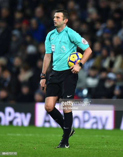 Referee Michael Oliver during the Premier League match between West Bromwich Albion and Crystal Palace at The Hawthorns on December 2 2017 in West...