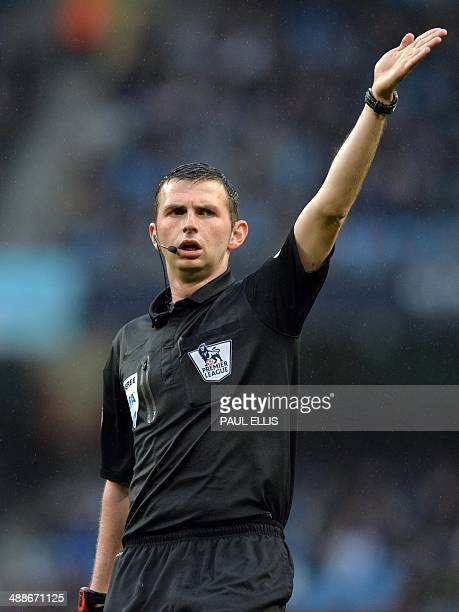 Referee Michael Oliver gestures during the English Premier League football match between Sunderland and West Bromwich Albion at Stadium of Light in...