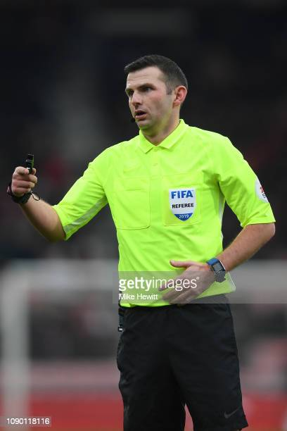Referee Michael Oliver in action during the FA Cup Third Round match between Bournemouth and Brighton and Hove Albion at Vitality Stadium on January...