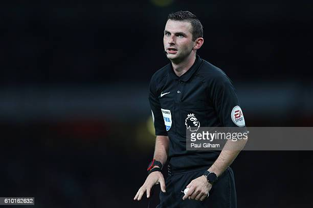 Referee Michael Oliver in action during the Premier League match between Arsenal and Chelsea at the Emirates Stadium on September 24 2016 in London...