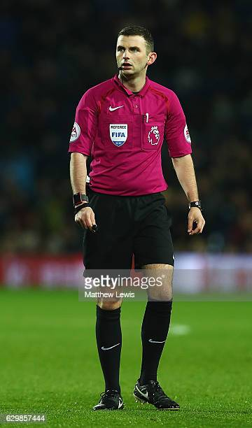 Referee Michael Oliver in action during the Premier League match between West Bromwich Albion and Swansea City at The Hawthorns on December 14 2016...