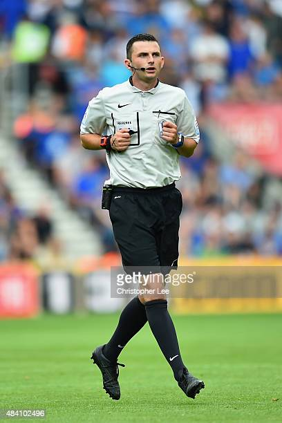 Referee Michael Oliver looks on during the Barclays Premier League match between Southampton and Everton at St Mary's Stadium on August 15 2015 in...
