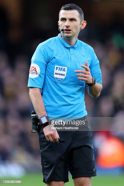 Referee Michael Oliver looks on during the Premier League match between Watford FC and Tottenham Hotspur at Vicarage Road on January 18, 2020 in...