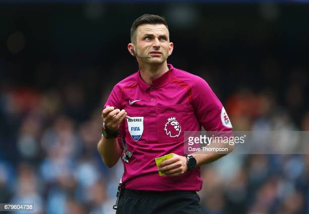 Referee Michael Oliver looks on during the Premier League match between Manchester City and Crystal Palace at the Etihad Stadium on May 6 2017 in...