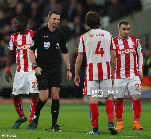 Referee Michael Oliver looks on during the Premier League match between West Ham United and Stoke City at London Stadium on April 16 2018 in London...