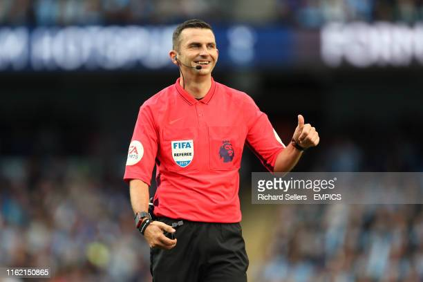 Referee Michael Oliver Manchester City v Tottenham Hotspur - Premier League - Etihad Stadium .