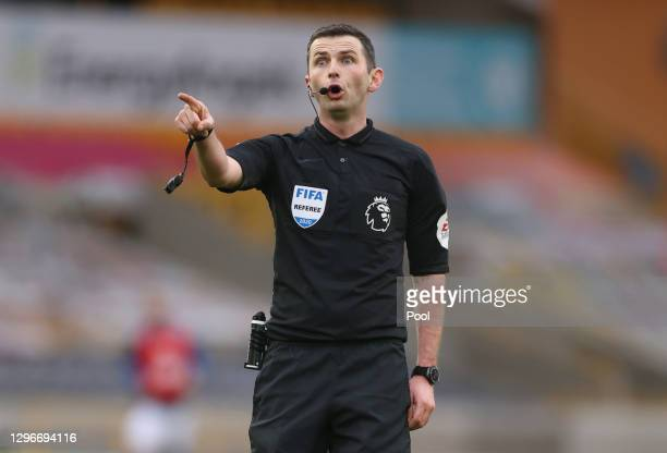 Referee, Michael Oliver reacts during the Premier League match between Wolverhampton Wanderers and West Bromwich Albion at Molineux on January 16,...