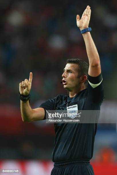 Referee Michael Oliver reacts during the UEFA Champions League group G match between RB Leipzig and AS Monaco at Red Bull Arena on September 13 2017...