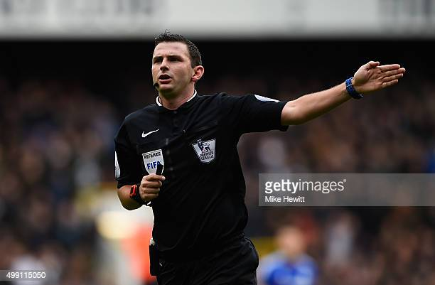 Referee Michael Oliver signals during the Barclays Premier League match between Tottenham Hotspur and Chelsea at White Hart Lane on November 29 2015...