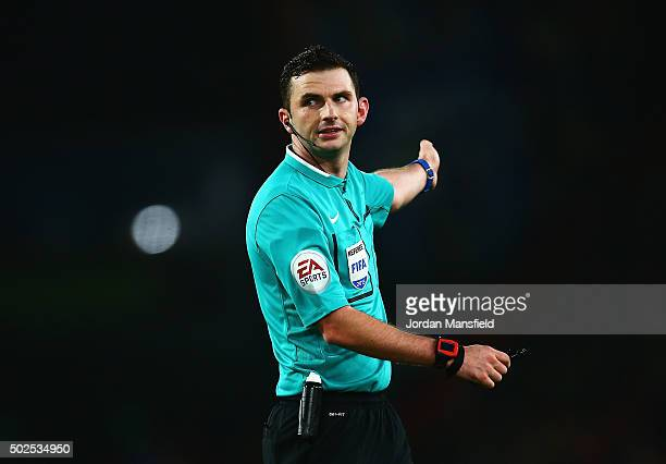 Referee Michael Oliver signals during the Barclays Premier League match between AFC Bournemouth and Crystal Palace at Vitality Stadium on December 26...