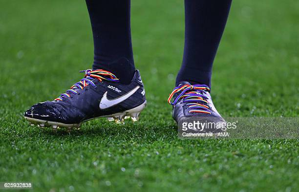 Referee Michael Oliver wears the Stonewall rainbow boot laces as part of the campaign to ackle homophobia in sport and raise awareness of issues...