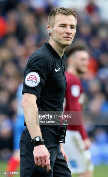 Referee Michael Salisbury in action during the Sky Bet League One match between Peterborough United and Northampton Town at ABAX Stadium on April 2...