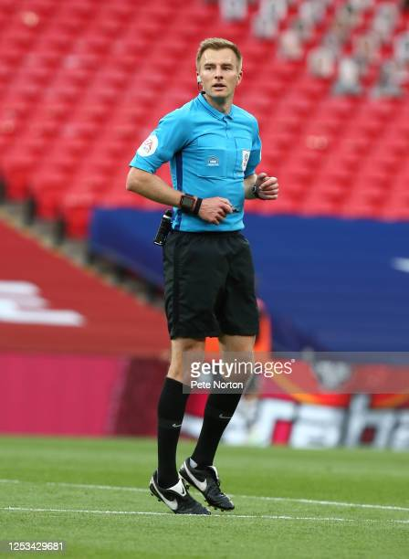 Referee Michael Salisbury in action during the Sky Bet League Two Play Off Final between Exeter City v Northampton Town at Wembley Stadium on June...