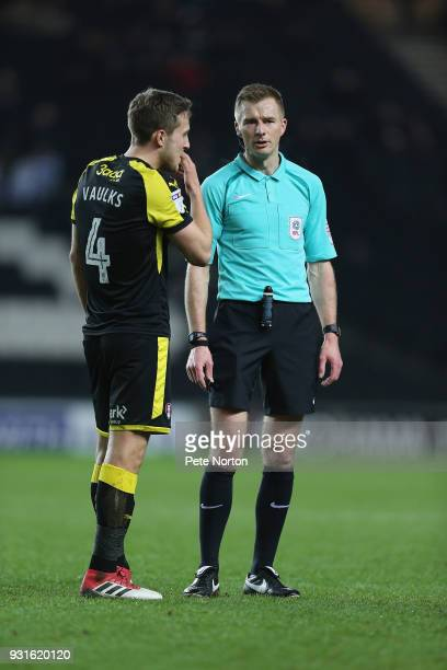Referee Michael Salisbury makes a point to Will Vaulks of Rotherham United during the Sky Bet League One match between Milton Keynes Dons and...