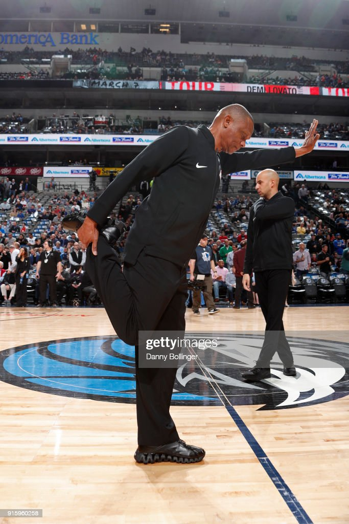 Referee Michael Smith warms up before the game between the Houston Rockets and the Dallas Mavericks on January 24, 2018 at the American Airlines Center in Dallas, Texas.