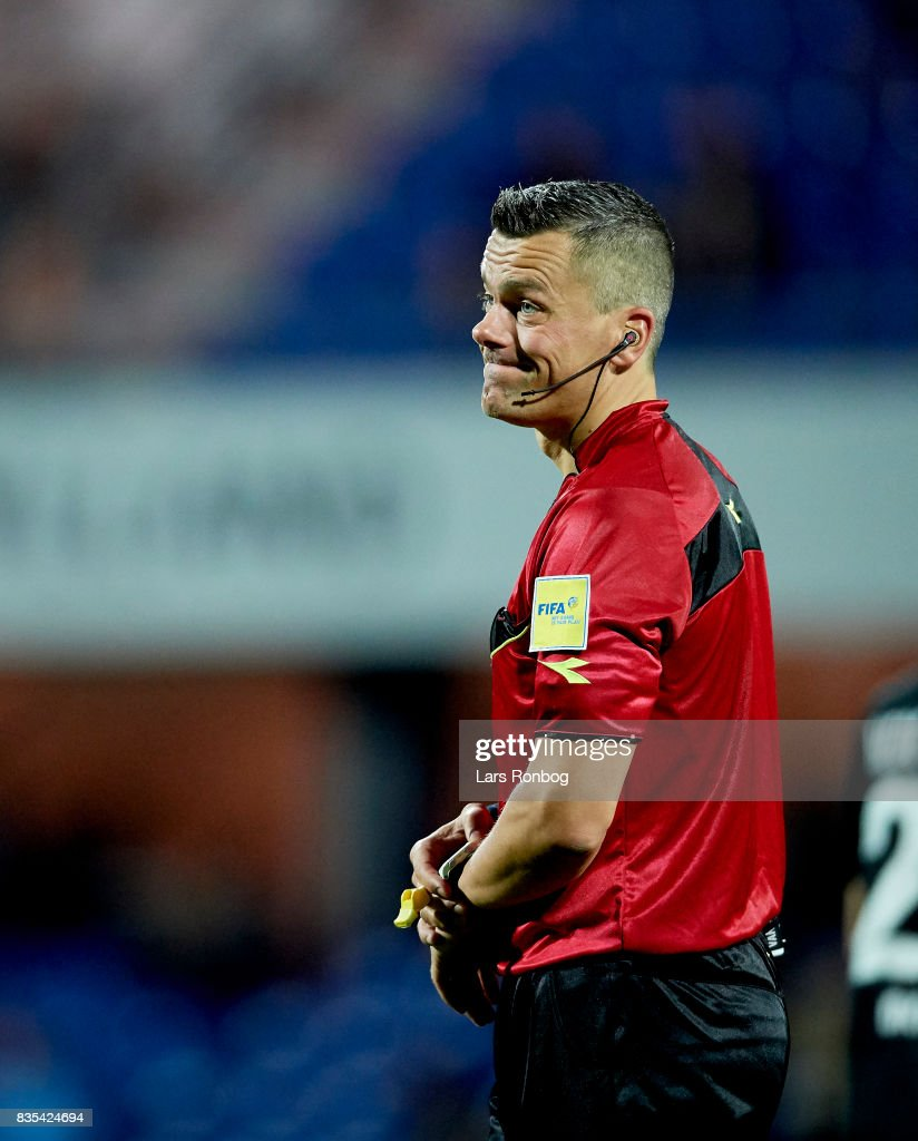 Referee Michael Tykgaard waiting to start second half during the Danish Alka Superliga match between Randers FC and Silkeborg IF at BioNutria Park on August 18, 2017 in Randers, Denmark.