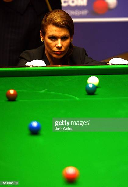 Referee Michaela Tabb lines up the balls during the 2nd Round match between Shaun Murphy and Marco Fu on April 24, 2009 at the Crucible Theatre,...