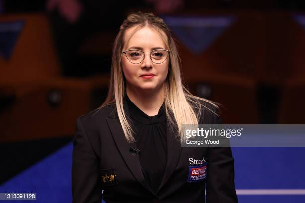Referee, Michaela Tabb looks on during the Betfred World Snooker Championship Round One match between Martin Gould and Yan Bingtao at Crucible...