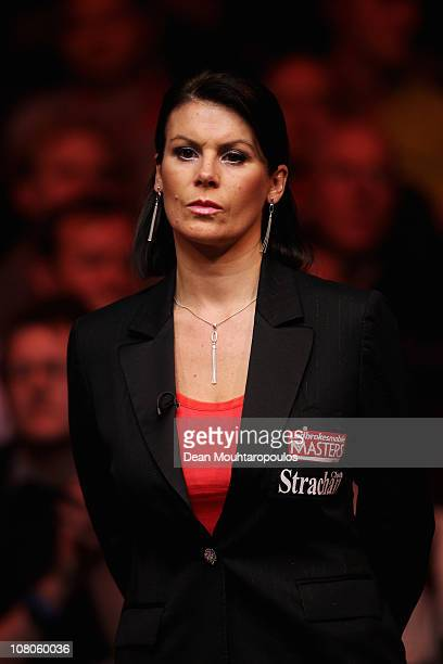 Referee Michaela Tabb looks on in the semi final at The Ladbrokesmobile Masters on Day 7 at Wembley Arena on January 15 2011 in London England