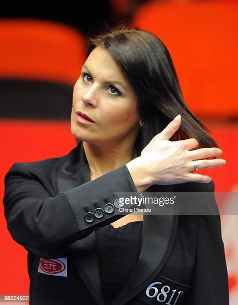 Referee Michaela Tabb of Scotland looks on during the quarterfinal match between Mark Williams of Wales and Marco Fu of Hong Kong during the 5th day...
