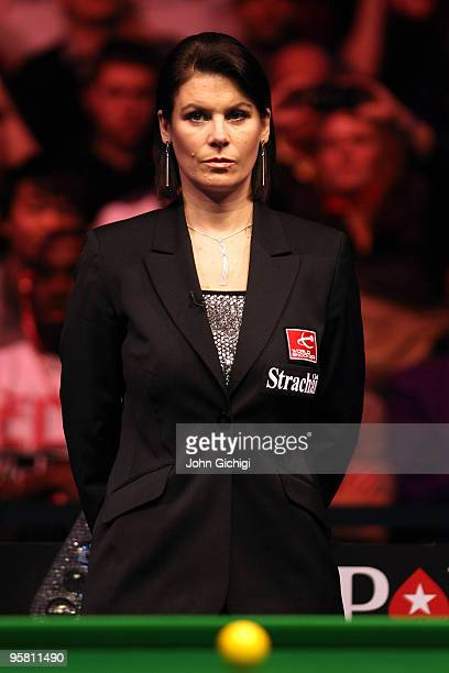 Referee Michaela Tabb officiates the match between Mark Williams of Wales and Ronnie O'Sullivan of England during the PokerStarscom Masters at...