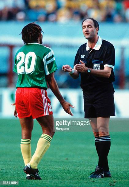 Referee Michel Vautrot of Sweden in action during the FIFA World Cup Group B match between Argentina and Cameroon on June 8 1990 in Milan Italy