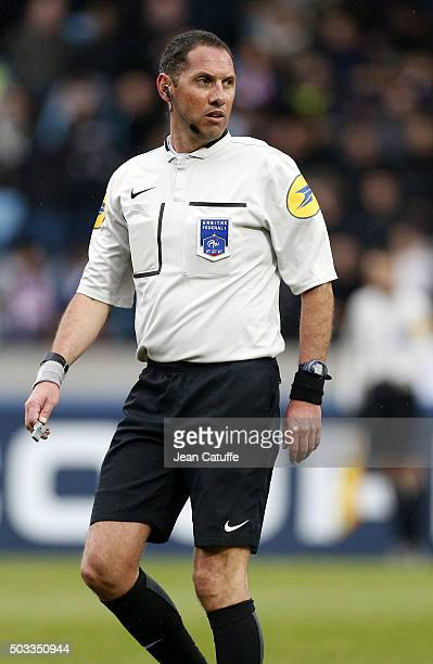 Referee Mikael Lesage during the French Cup match between ES Wasquehal and Paris SaintGermain at Stadium Lille Metropole on January 3 2016 in...