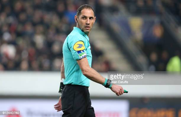 Referee Mikael Lesage during the French League Cup match between Stade Rennais and Paris Saint Germain at Roazhon Park on January 30 2018 in Rennes...