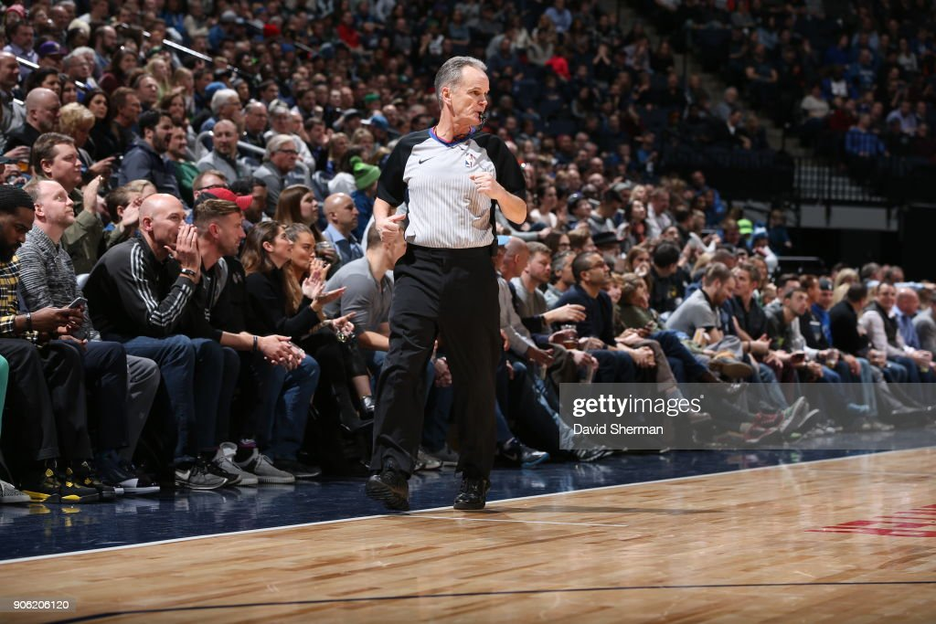 Referee Mike Callahan looks on during the game between the New York Knicks and Minnesota Timberwolves on January 12, 2018 at Target Center in Minneapolis, Minnesota.