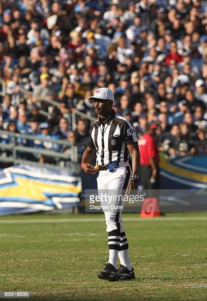 Referee Mike Carey annouces a ruling during the game between the Atlanta Falcons and the San Diego Chargers on November 30, 2008 at Qualcomm Stadium...