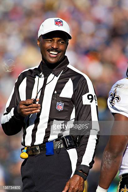 Referee Mike Carey smiles during a game between the Tennessee Titans and the New Orleans Saints at LP Field on December 11, 2011 in Nashville,...