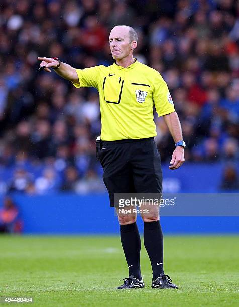 Referee Mike Dean during the Barclays Premier League match between Leicester City and Crystal Palace at The King Power Stadium on October 24 2015 in...