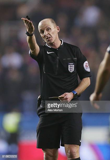 Referee Mike Dean during the Emirates FA Cup Sixth Round match between Reading and Crystal Palace at the Madejski Stadium on March 11 2016 in Reading...