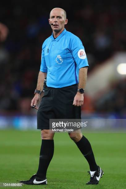 Referee Mike Dean during the Premier League match between AFC Bournemouth and Crystal Palace at Vitality Stadium on October 1 2018 in Bournemouth...