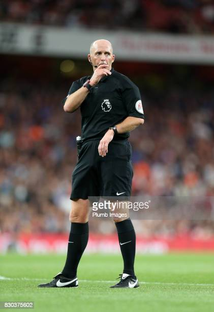 Referee Mike Dean during the Premier League match between Arsenal and Leicester City at Emirates Stadium on August 11th 2017 in London United Kingdom